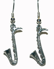 PEWTER SAXOPHONE DANGLE EARRINGS (D141)