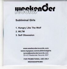 (DG377) Subliminal Girls, Hungry Like The Wolf - 2007 DJ CD