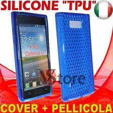 Cover Custodia Per LG Optimus L7 P700 Blu Gel Sicone TPU  + Pellicola Display