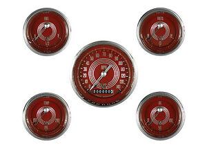 classic instruments speedster series 5 gauge set glass red steelie v8rs00shc