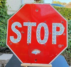 "Vintage Porcelain Stop Sign 24"" With Button Reflectors"