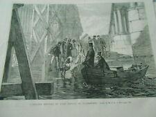 Gravure 1867 - Scaphandrier Plongeur sortant de l'eau
