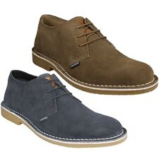 MENS LACE UP SUEDE LEATHER NAVY BEIGE CASUAL SMART FORMAL SHOES LAMBRETTA SOHO