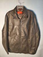 Vintage nicole miller Mens Size Large Black Leather Car Coat Bomber Jacket Lined
