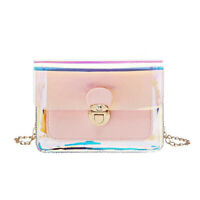 Women Transparent PVC Clear Jelly Clutch Bag Purse Tote Casual Shoulder HandbA8A