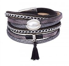 Tamaris Phoeby Leather Bracelet Armband Accessoire Black / Black Schwarz Neu