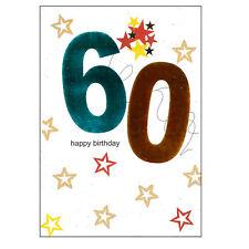 âge Carte d'anniversaire avec Enveloppe brillant numéro Design - Bleu 60th