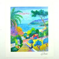 """Jean Claude Picot Art Paysage Aux 3 Enfants Signed Print 10.75"""" x 9"""" Park West"""