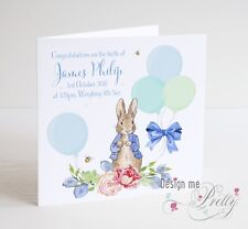 PERSONALISED PETER RABBIT NEW BABY Card - Congratulations Birth Baby Boy Blue