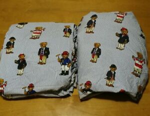 Vintage Ralph Lauren Polo Bear Sheet Set Queen Flat And Fitted No Pillowcases