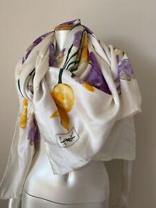 Yves Saint Laurent 100% Silk Scarf Big 140/140size floral print Excellent Rare