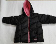 Old Navy Girls 18-24 mo Black Pink Fleece Lining Puffer Jacket Coat Winter Hood