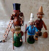 Vintage LOT of 4 GERMAN WOOD INCENSE Figural Smokers Burners with Knox Incense