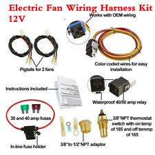 Electric Fan Wiring Harness Kit - 165-185 Thermostat/Waterproof Relay/Fuse Blade