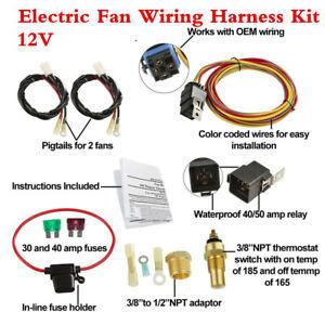 Power Fan Wiring Harness Kit - 165-185 Thermostat/Waterproof Relay/Fuse Blade