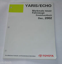 Workshop Manual Toyota Yaris/Echo Features Neuer Vehicles, Stand 12/2002