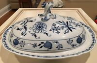 ANTIQUE Meissen Blue Onion Covered Serving Dish Tureen Large 1815-1924