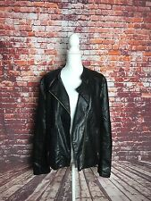 CALVIN KLEIN Black Faux Leather Moto Jacket Zip Up Asymmetrical Women's Sz XL