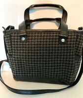 Thirty-One Mini Cindy Black Houndstooth Crossbody Purse Adjust Strap Pre-owned