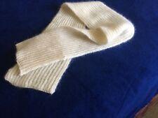 Unique Hand Knit White Silk/Mohair Brioche Stitch Scarf