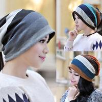 LN_ EG_ Women Winter Fashion Stripe Pattern Hat Beanie Cotton Blend Cap Scarf