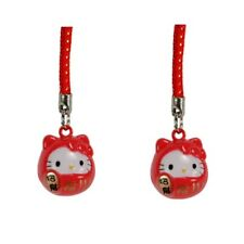 Set Of 2 Hello Kitty Brass Bell Charm Lucky Fortune Daruma Red Cell Phone Strap