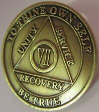 Alcoholics Anonymous AA 7 YEAR Bronze Medallion token Coin Chip Sobriety Sober