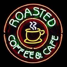"New Roasted Coffee Cafe Neon Light Sign 24""x24"" Lamp Poster Real Glass Beer Bar"