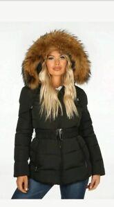 Womens Ladies Winter Jacket Soft Raccoon Fur Warm Parka Hood Winter Jacket UK