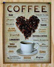 Coffee Beans Flavors Tin Metal Sign Java Bistro Barista Shop Cafe Restaurant