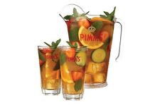 Pimm's Jug With Jug And Glass Stirrers & 4 X Pimms Hexagon Glass Tumblers