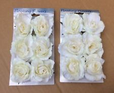 Pack x12 Floating Roses Cream/White Artificial Silk Flowers Wedding