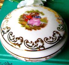 Royal Bavaria Fragonard Trinket Box With Lid, German Porcelain Powder Box