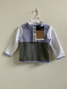 NWT The North Face Baby Girls Glacier Fleece Snap Pullover Sweet Lavender 18M