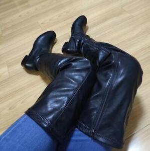 Flach Stiefel Overknee Damen Schuhe Rund Toe Full Zip Schenkelhoch Stiefeletten