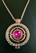 New 35mm crystal coin necklace pendant 33mm coin 30 inch chain rose gold 372