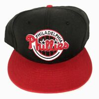 New Era 59Fifty Philadelphia Phillies Fitted Baseball Hat Cap Blk Red Sz 7 7/8