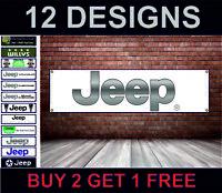 Jeep Officina, Garage Meccanico Banner, PVC Poster, Wrangler, Cherokee Renegade