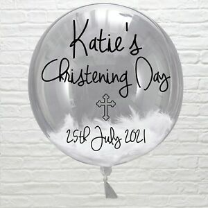 Personalised Name Number Sticker Bubble Balloon Party Birth christening baby