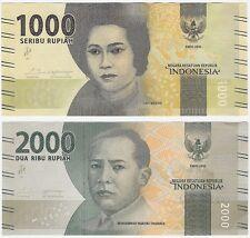 Indonesia 1000 & 2000 Rupiah 2016 P-154a P-155a UNC Banknote Set - 2 pcs