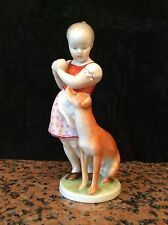 "EARLY HEREND ""LITTLE JEALOUS"" GIRL WITH DOG FIGURINE 8.4""....21 CMS"