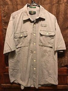 ORVIS TROUT BUM ~ Men's LRG ~ 100% Cotton HONG KONG Fishing Button Front Shirt
