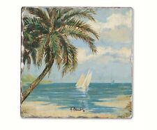 Coastal Design 6 Piece Palm Bay  Tumbled Tile Coaster  Set 11926