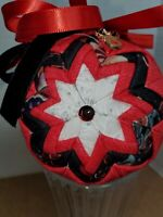 ORNAMENT FABRIC CHRISTMAS BLACK AND RED WITH RUDOLPH CHARM AND RIBBON TRIM UNIQU