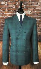 Mod Suit Green & Navy Check Suit double breasted Slim Fitting Suit 1960's