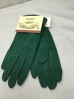 NEW W/tags Fownes Emerald Green Suede Fleece Lined Womens Medium Driving Gloves