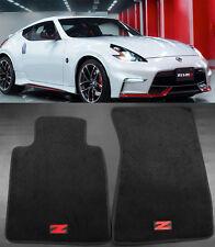 For 2009-2016 Nissan 370Z Black JDM Red Z Nylon Carpet Floor Mats Front 2PCS