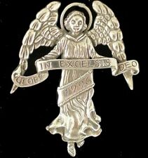 "Angel Gloria In Excelsis Deo Sterling Christmas Ornament Hand & Hammer 2"" High"
