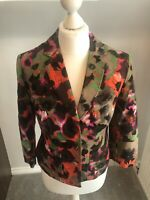 Ladies Short Smart Autumnal Coloured Button Blazer Jacket NEXT Size 12 Linen