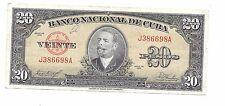 Banco Nacional 20 PESOS 1958 VF+ Antonio Maceo Pick #80b